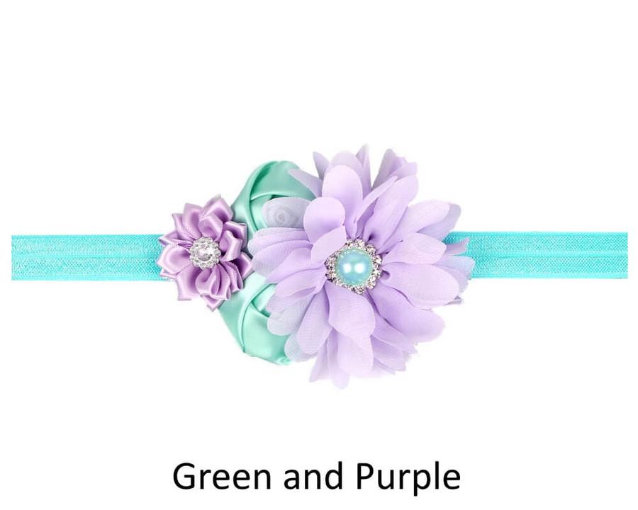 Baby 4 Flower Crown Headband - Green and Purple