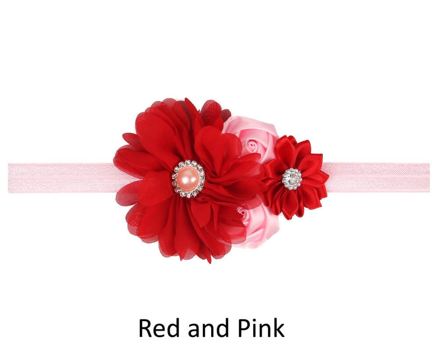 Baby 4 Flower Crown Headband - Red and Pink