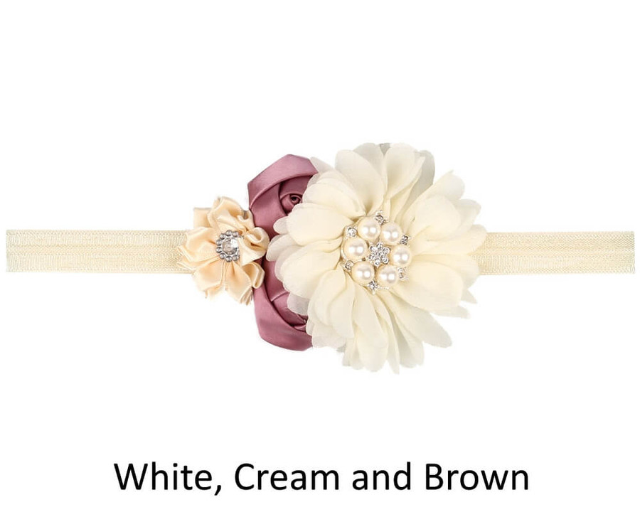 Baby 4 Flower Crown Headband - White Cream and Brown