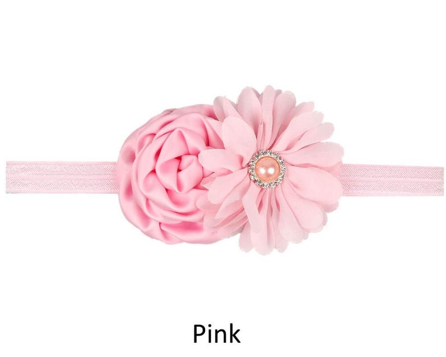 Baby 4 Flower Crown Headband - Pink
