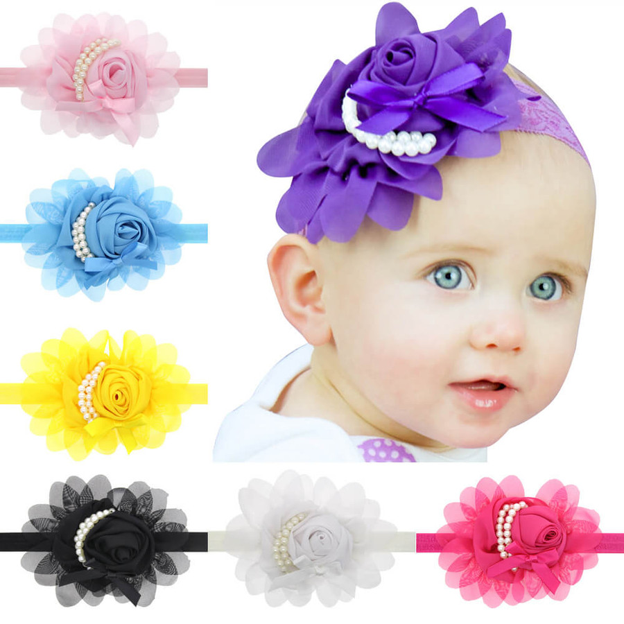 Baby Rose Flower Pearl Headband for Girls