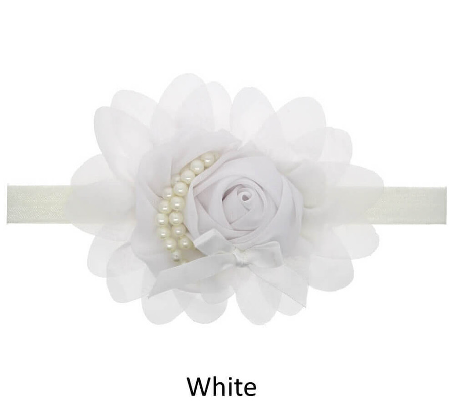 Baby Rose Flower Pearl Headband - White