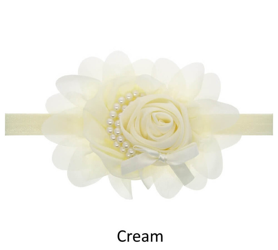 Baby Rose Flower Pearl Headband - Cream