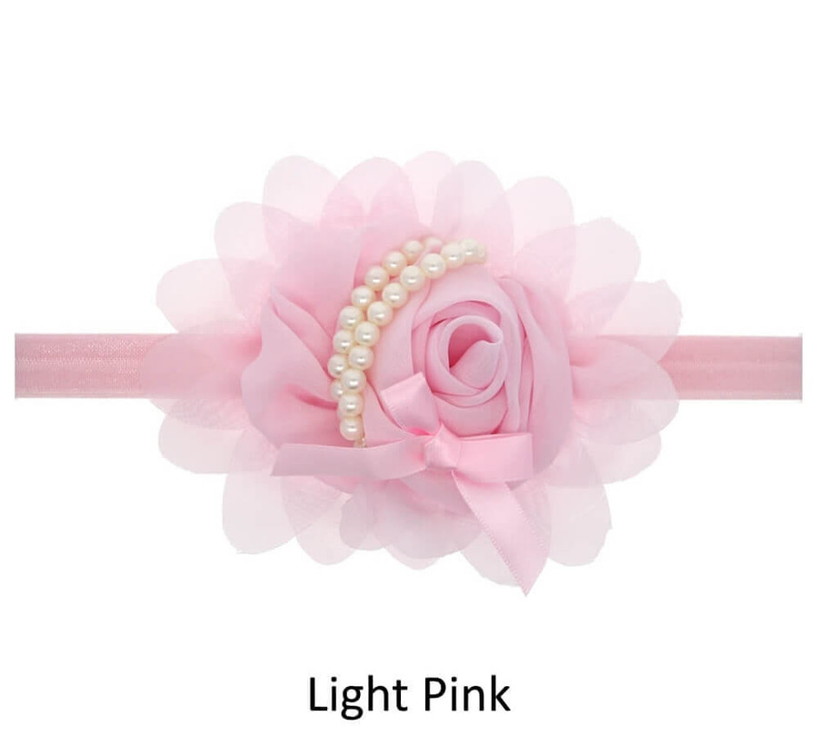 Baby Rose Flower Pearl Headband - Light Pink