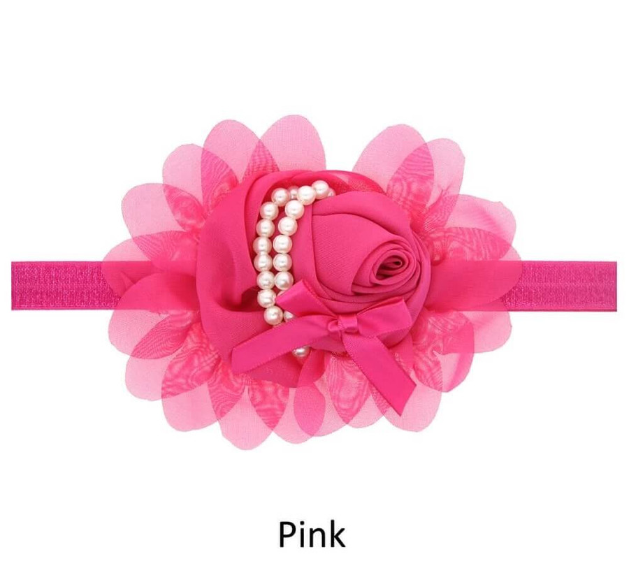 Baby Rose Flower Pearl Headband - Pink