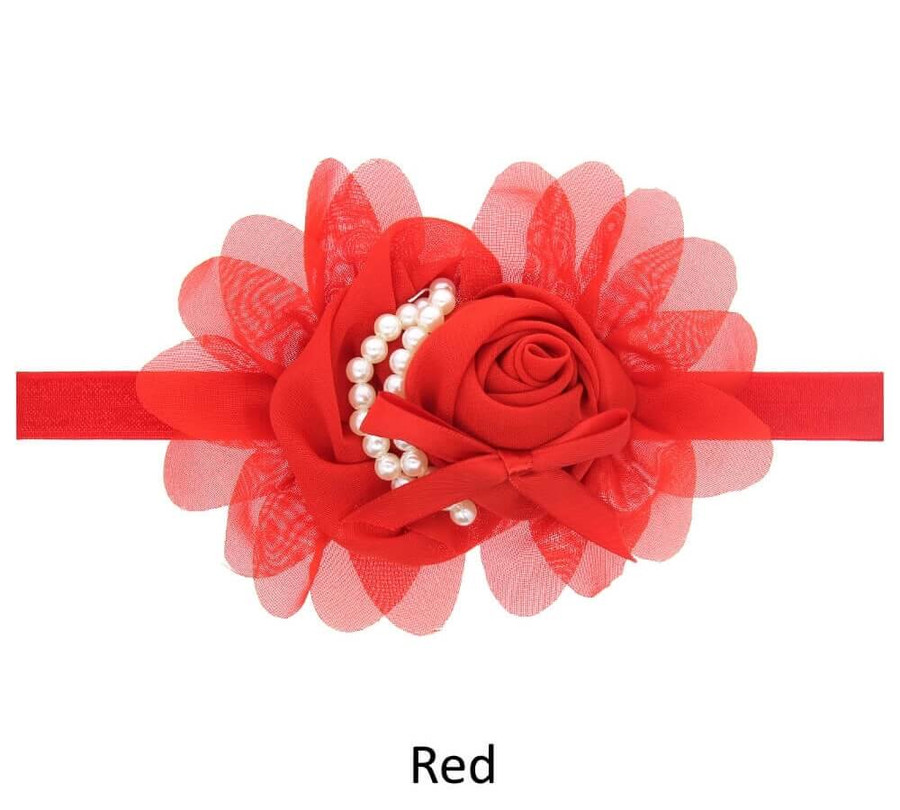 Baby Rose Flower Pearl Headband - Red