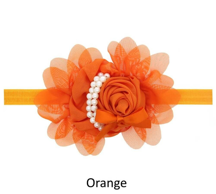 Baby Rose Flower Pearl Headband - Orange
