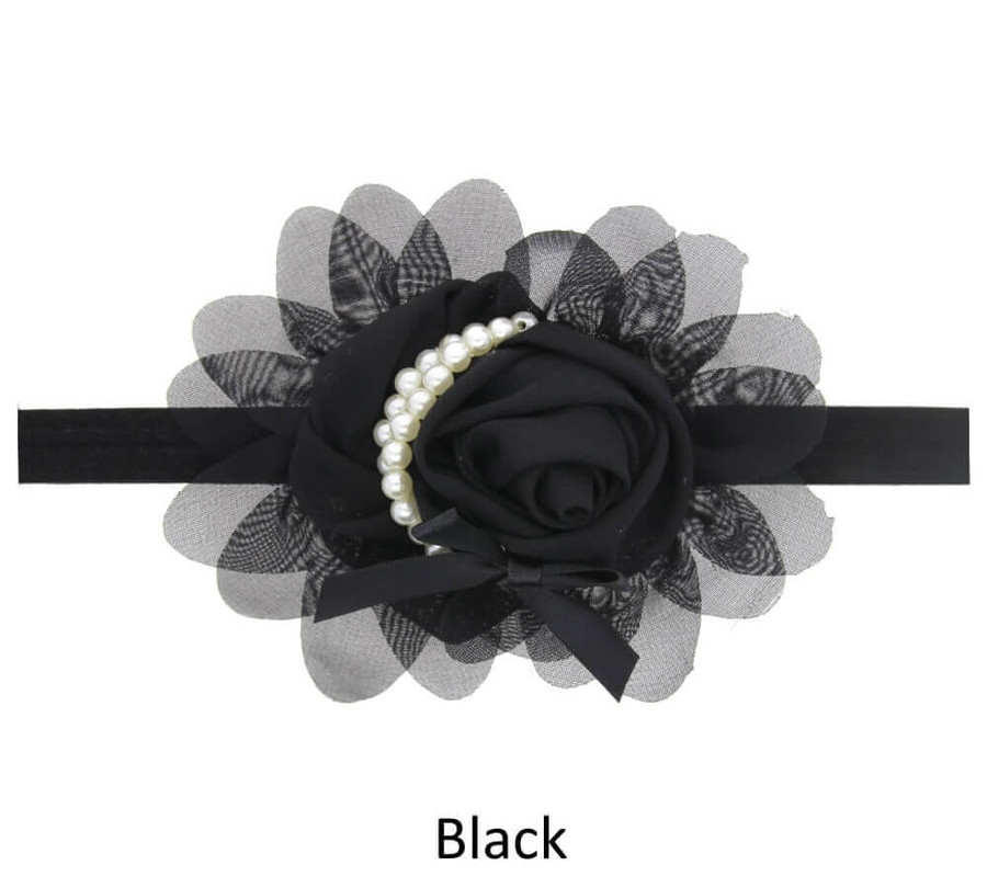 Baby Rose Flower Pearl Headband - Black