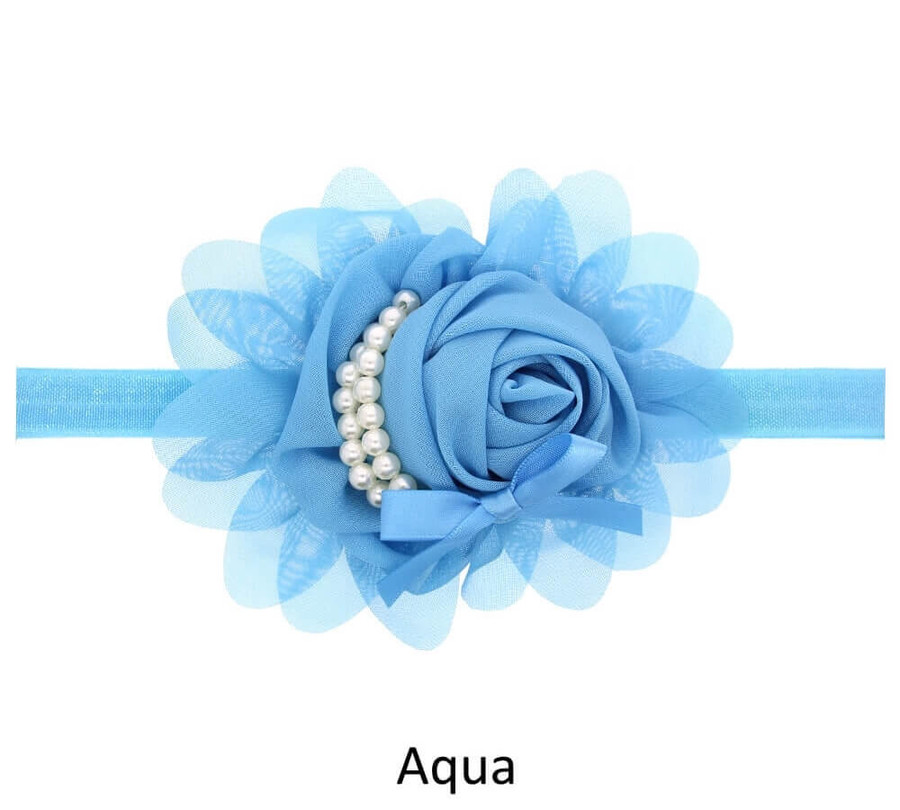 Baby Rose Flower Pearl Headband - Aqua