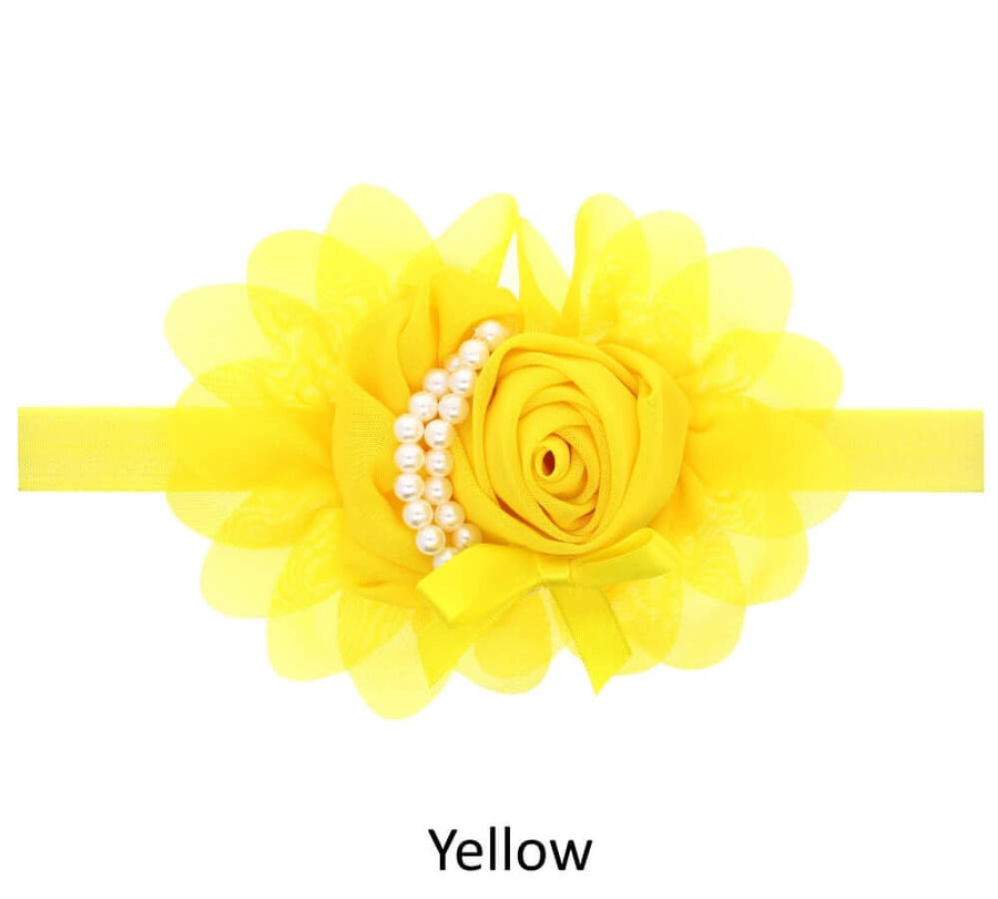 Baby Rose Flower Pearl Headband - Yellow