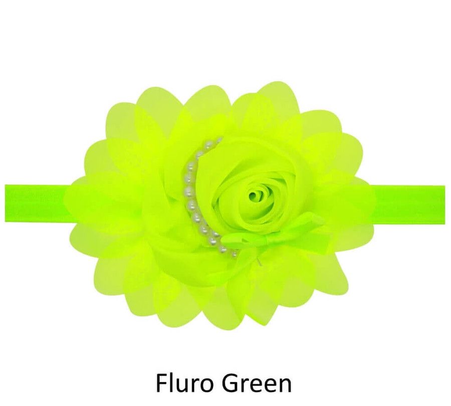 Baby Rose Flower Pearl Headband - Fluro Green