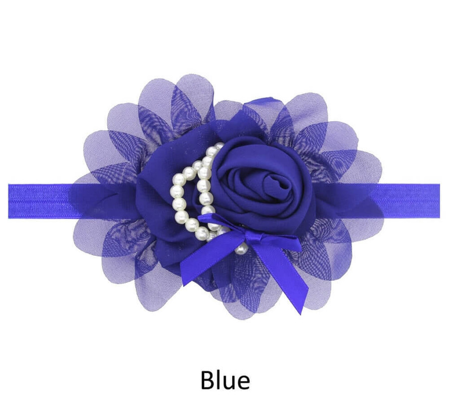 Baby Rose Flower Pearl Headband - Blue
