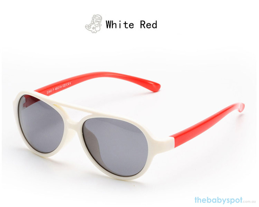 Kids Bendable Oval Polarized Sunglasses - White/Red