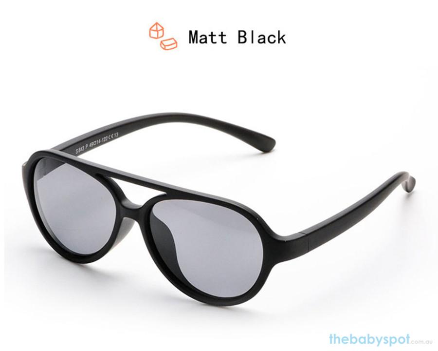 Kids Bendable Oval Polarized Sunglasses - Matte Black