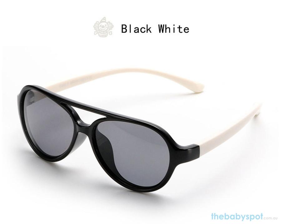 Kids Bendable Oval Polarized Sunglasses - Black/White