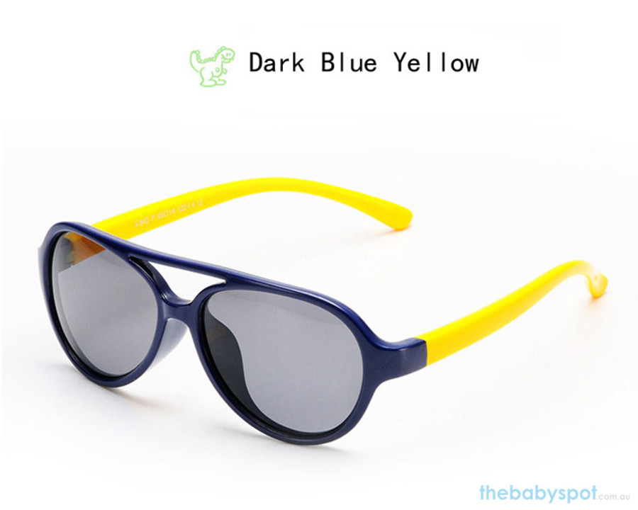 Kids Bendable Oval Polarized Sunglasses - Dark Blue/Yellow