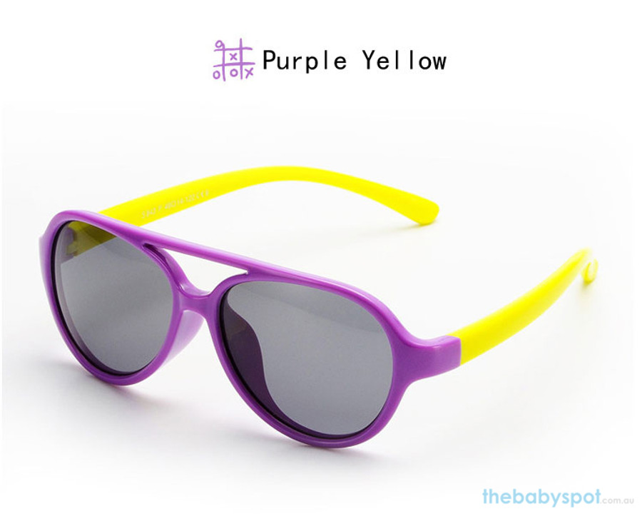 Kids Bendable Oval Polarized Sunglasses - Purple/Yellow