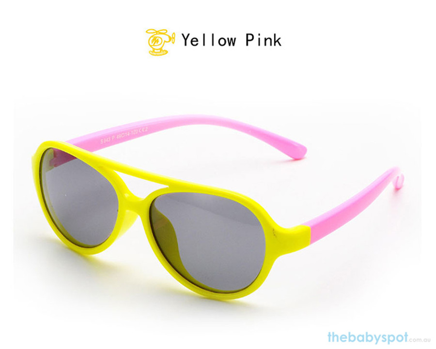 Kids Bendable Oval Polarized Sunglasses - Yellow/Pink