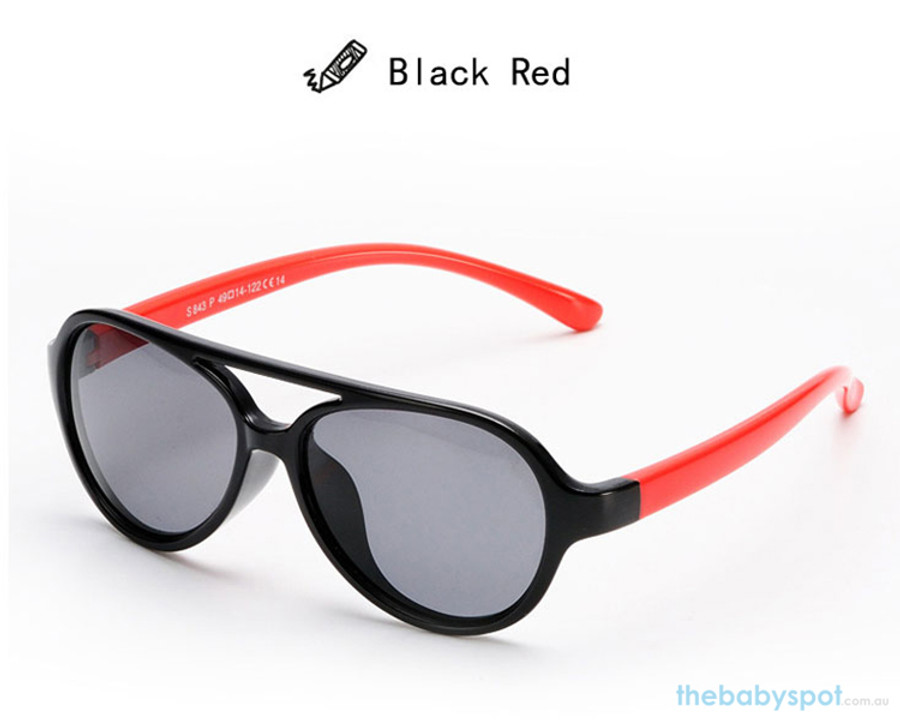 Kids Bendable Oval Polarized Sunglasses - Black/Red