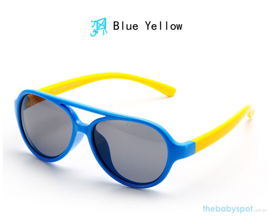 Kids Bendable Oval Polarized Sunglasses - Blue/Yellow