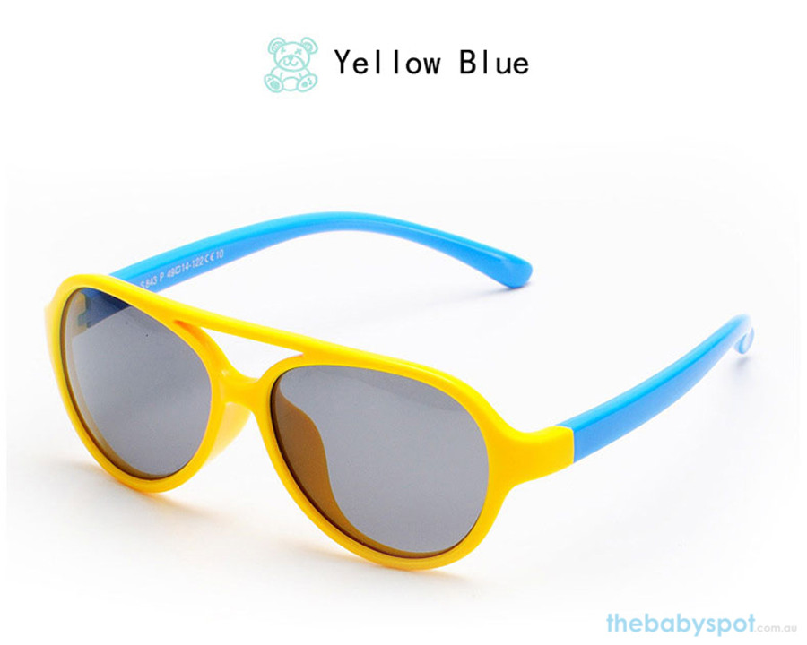 Kids Bendable Oval Polarized Sunglasses - Yellow/Blue