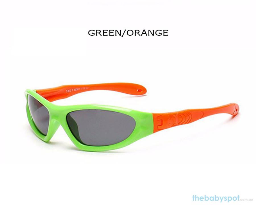 Kids Bendable Outdoor Sport Sunglasses  - Green/Orange