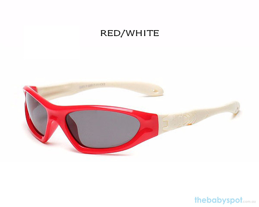 Kids Bendable Outdoor Sport Sunglasses  - Red/White