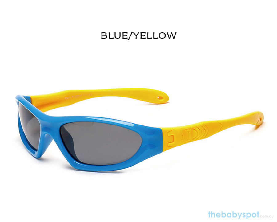 Kids Bendable Outdoor Sport Sunglasses  - Blue/Yellow