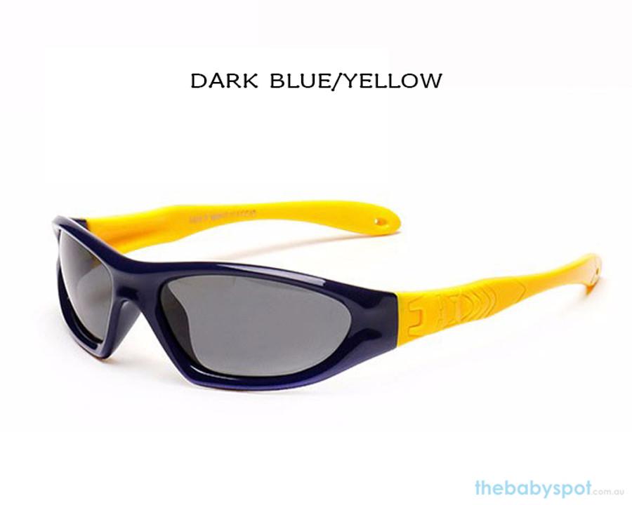 Kids Bendable Outdoor Sport Sunglasses  - Dark Blue/Yellow