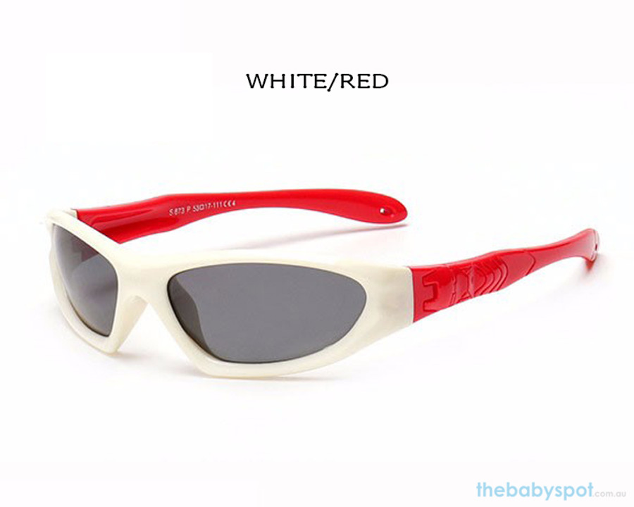 Kids Bendable Outdoor Sport Sunglasses  - White/Red