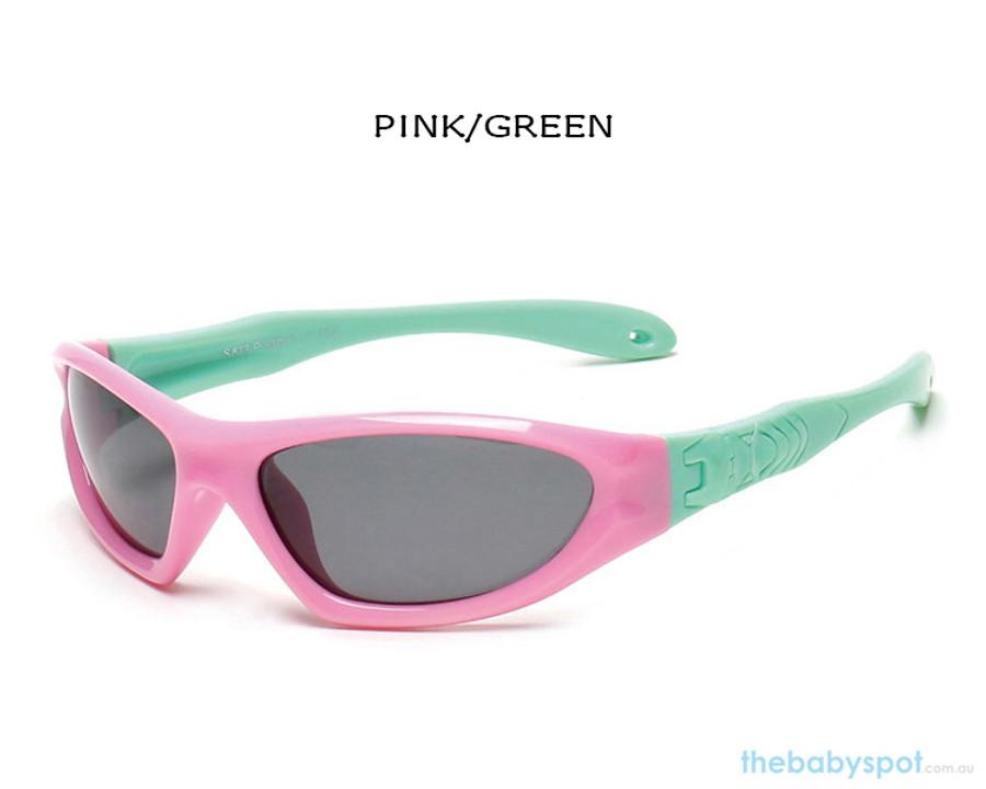 Kids Bendable Outdoor Sport Sunglasses  - Pink/Green