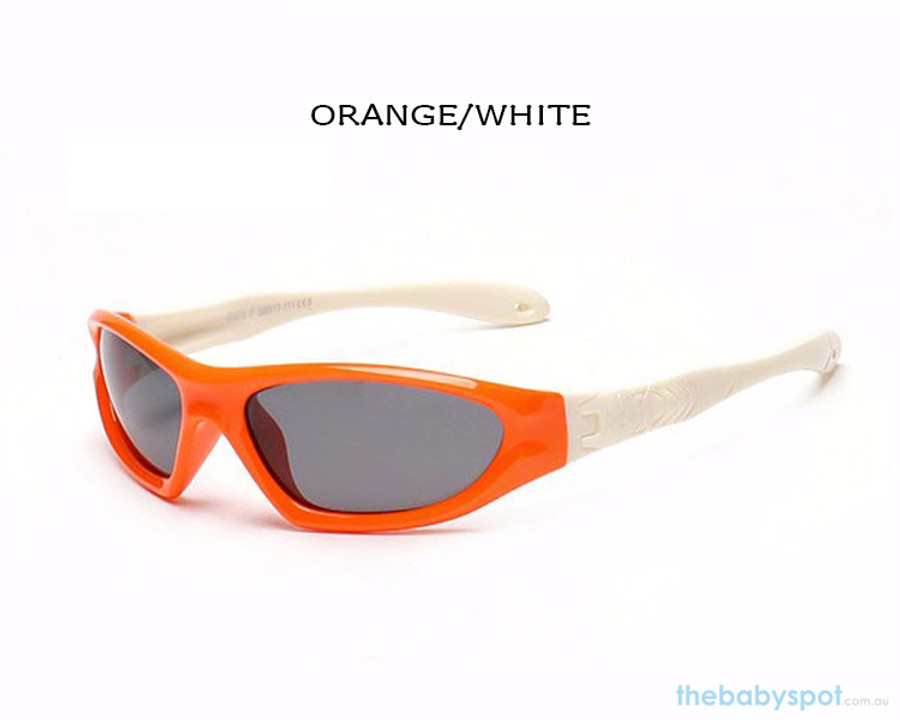 Kids Bendable Outdoor Sport Sunglasses  - Orange/White