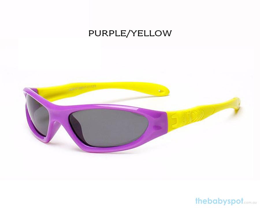 Kids Bendable Outdoor Sport Sunglasses  - Purple/Yellow