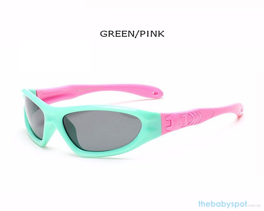 Kids Bendable Outdoor Sport Sunglasses  - Green/Pink