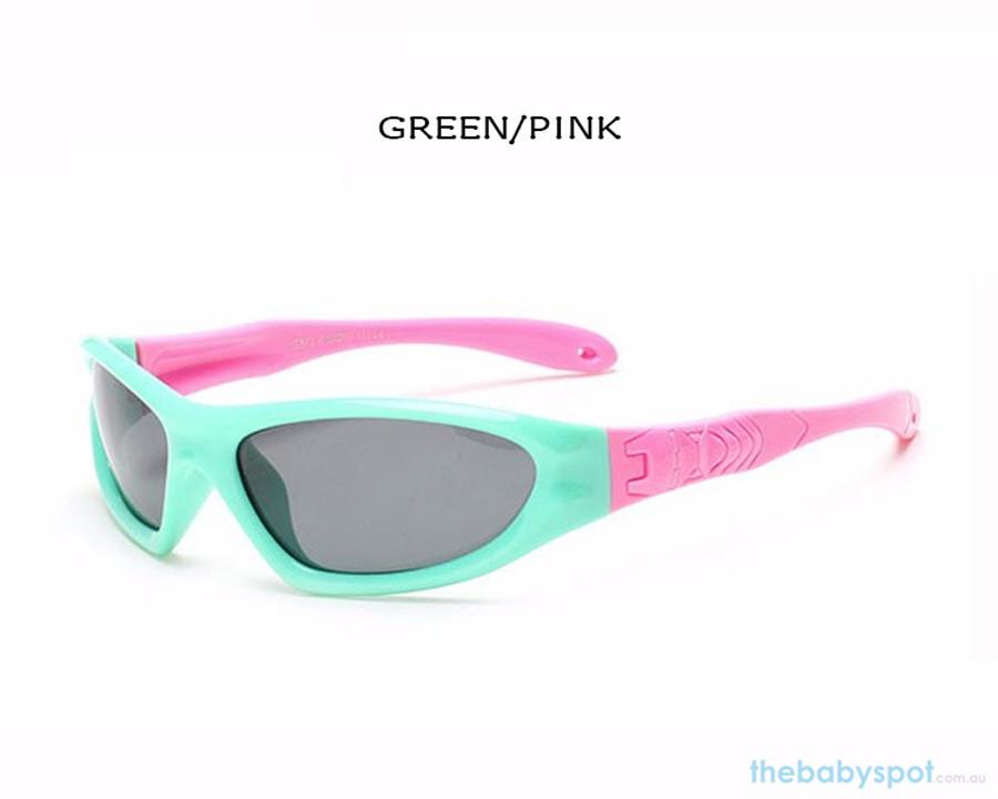 Kids Bendable Outdoor Sport Sunglasses  - Green/Pink