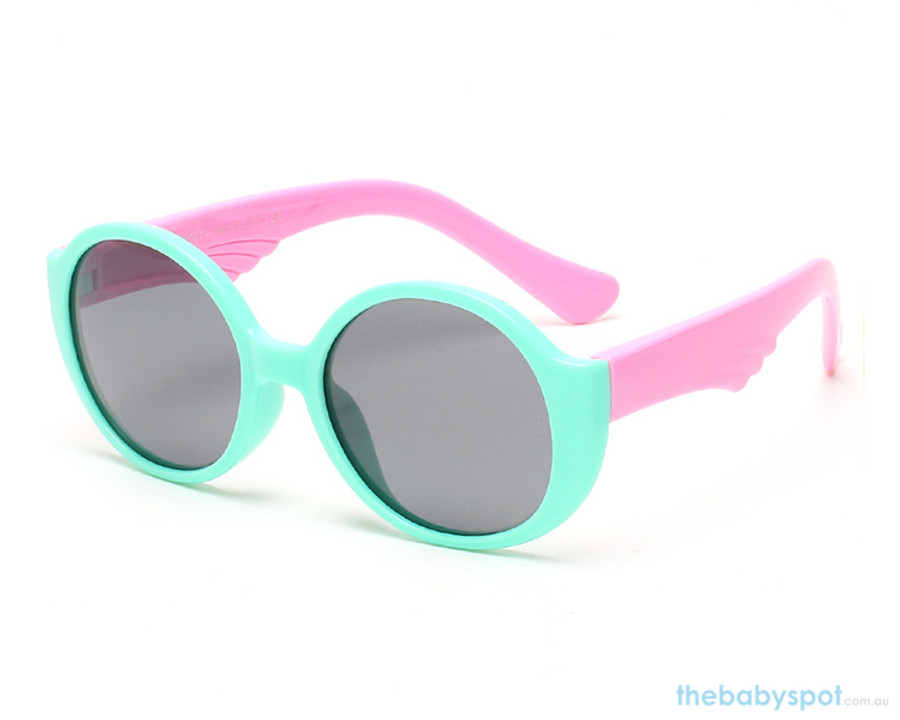 Kids Bendable Round Lense Sunglasses - Green/Pink