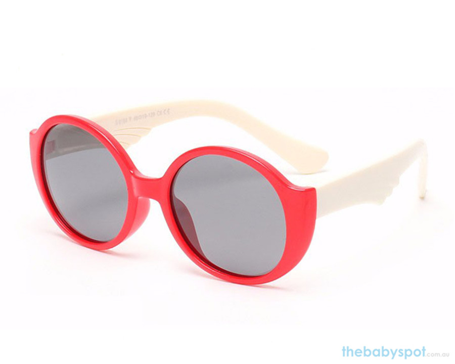 Kids Bendable Round Lense Sunglasses - Red/White