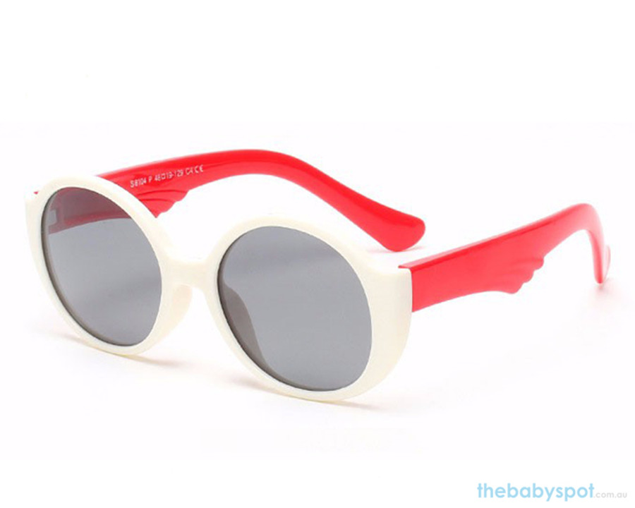 Kids Bendable Round Lense Sunglasses - White/Red