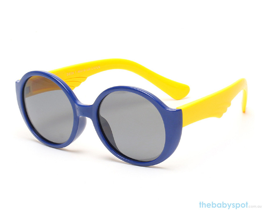 Kids Bendable Round Lense Sunglasses - Navy Blue/Yellow