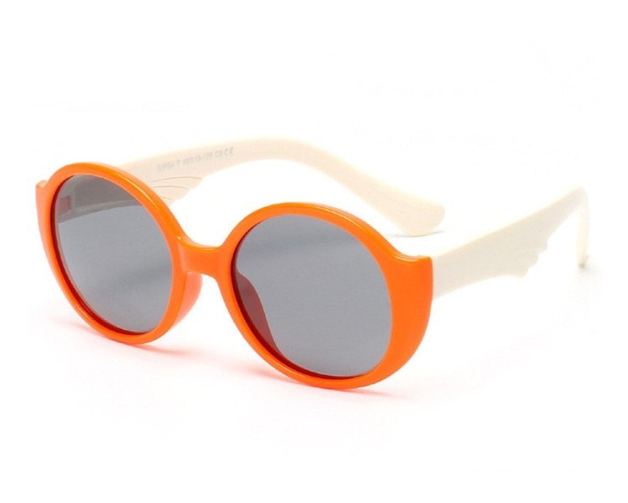 Kids Bendable Round Lense Sunglasses - Orange/White