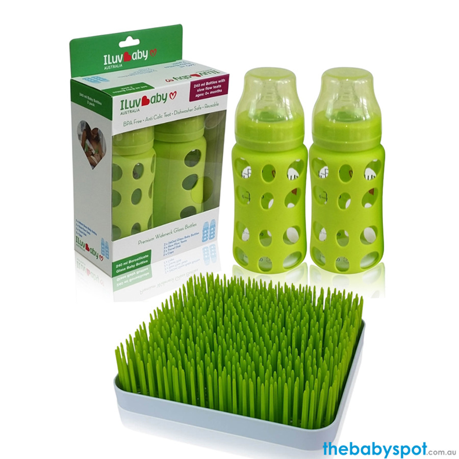 ILuvBaby 240ml Glass Baby Bottles 2 Pack  + FREE Drying Rack - Green
