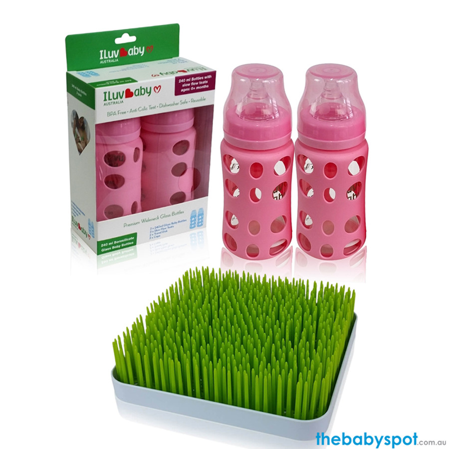 ILuvBaby 240ml Glass Baby Bottles 2 Pack  + FREE Drying Rack - Pink
