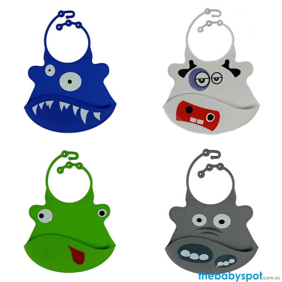 Silicone Baby Bibs with Crumb Catcher - 4 Animals