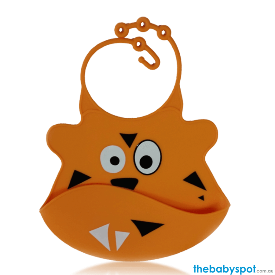 Silicone Baby Bibs with Crumb Catcher - Tiger