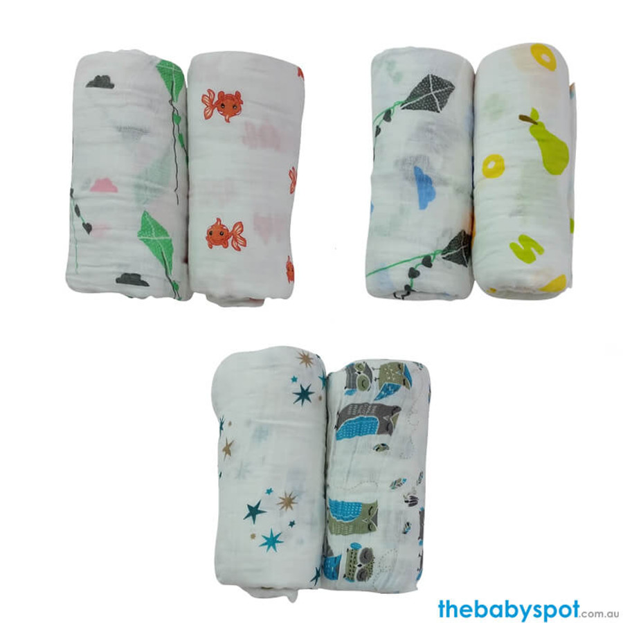 Organic Muslin Wrap and Pram Peg Set - 3 pack