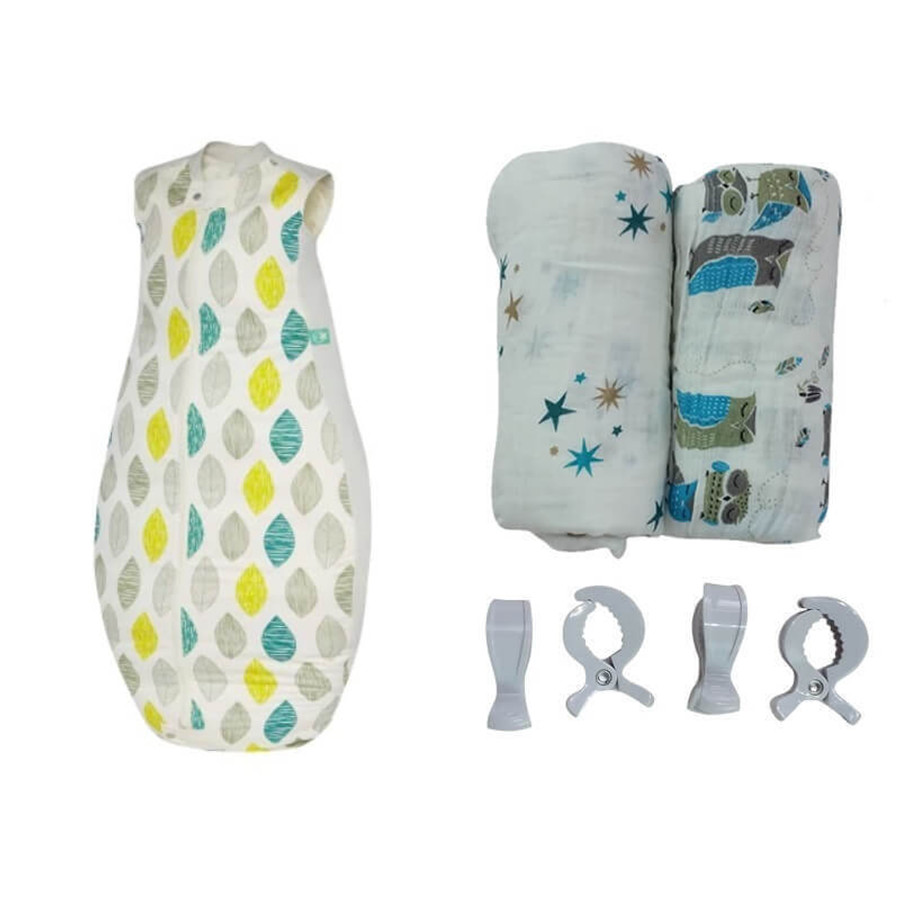 Baby Sleeping Bag & Organic Muslin Wrap Set