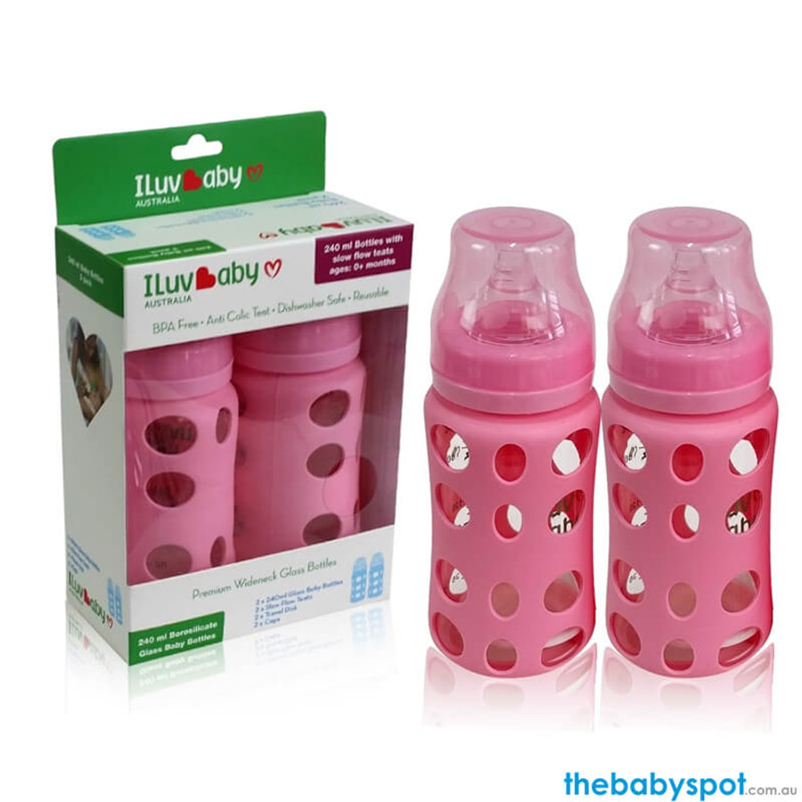 240ml Wide-neck Glass Baby Bottles 2 pack - Pink