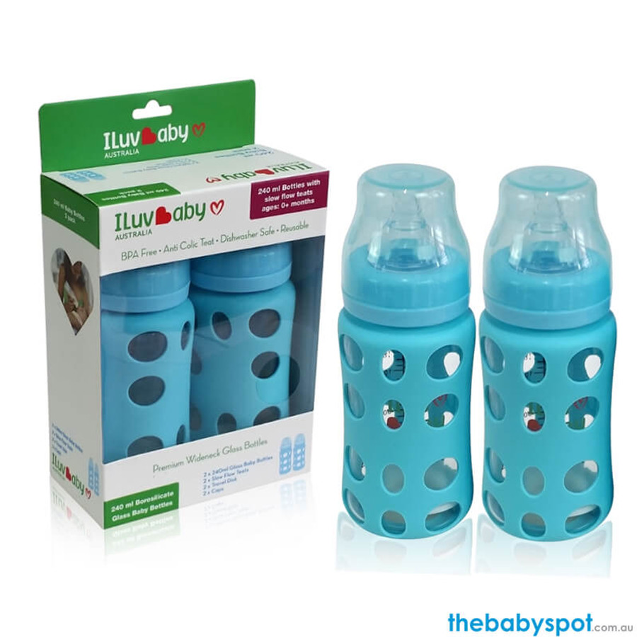 240ml Wide-neck Glass Baby Bottles 2 pack - Blue