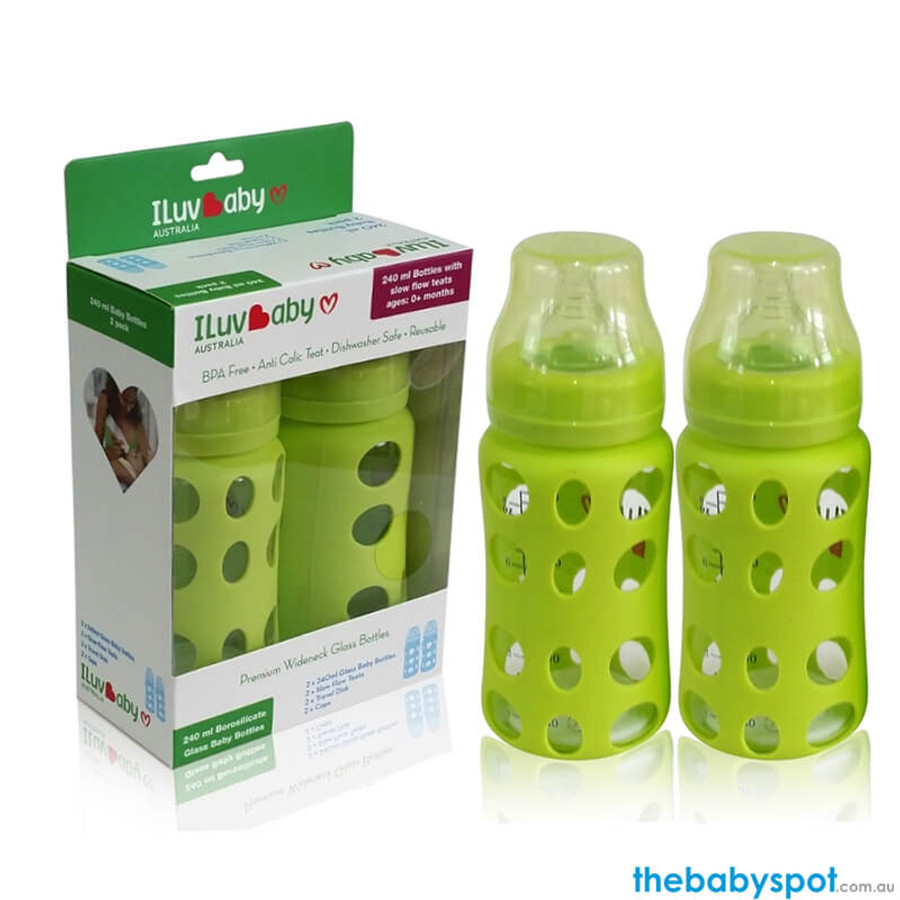 240ml Wide-neck Glass Baby Bottles 2 pack - Green