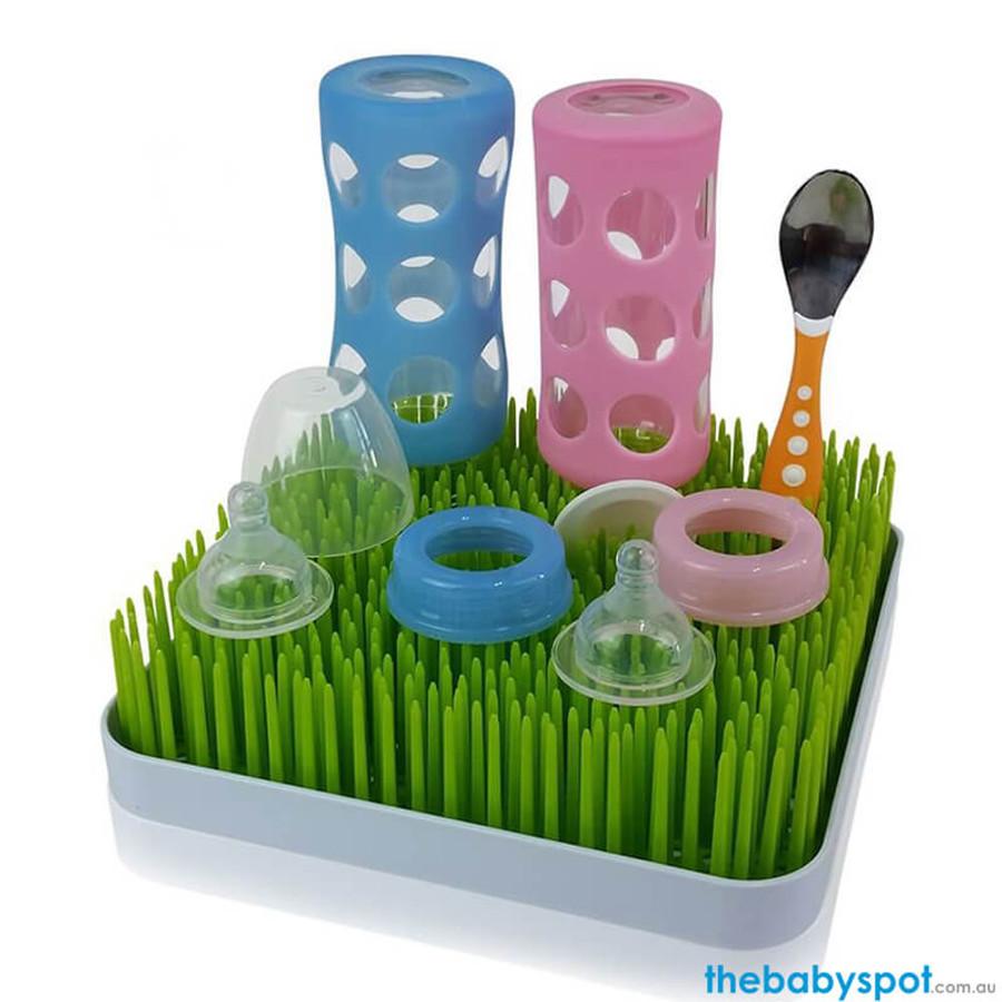 Green Grass Baby Bottle Drying Rack 24x24cm